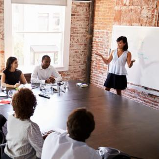 Photo of a person presenting to a group as part of a career development program.