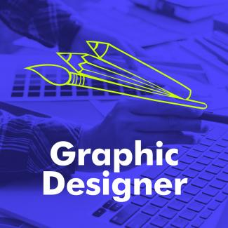 "The words ""graphic designer"" below an illustration of pencils and paintbrushes."