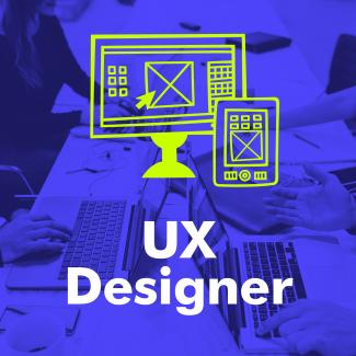 "The words ""UX designer"" with an illustration of a computer and smartphone."