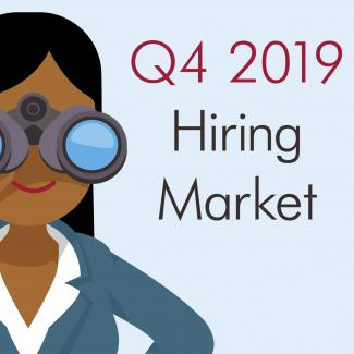 Make the Most of the Low Accountant Unemployment Rate — graphic image of woman with binoculars and the words, Q4 2019 Hiring Market